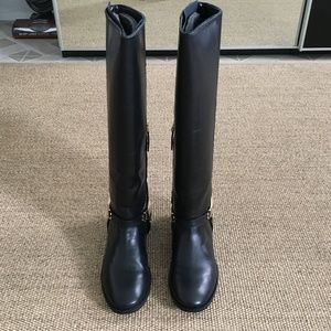 Zara Tall Leather Riding Boots Black 9 Gold Buckle